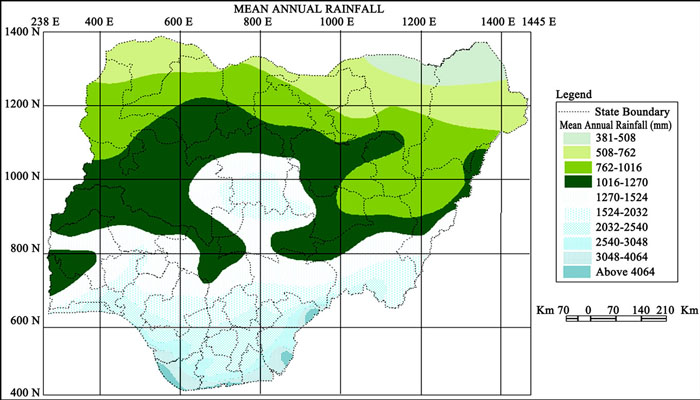 annual rainfall in Nigeria
